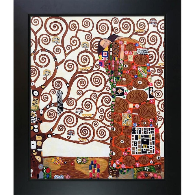 La Pastiche La Pastiche By Overstockart Fulfillment The Embrace By Gustav Klimt With Black New Age Wood Frame Oil Painting Wall Art 28 75 In X 24 75 In In The Wall Art Department At Lowes Com