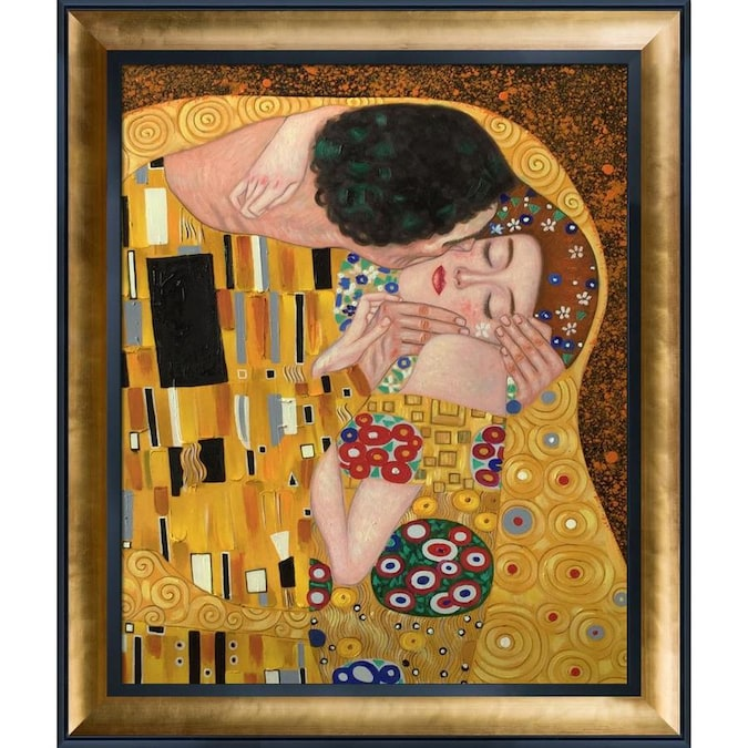 La Pastiche La Pastiche By Overstockart The Kiss By Gustav Klimt With Black And Gold Luminoso Stacked Frame Oil Painting Wall Art 29 5 In X 25 5 In In The Wall Art Department At Lowes Com