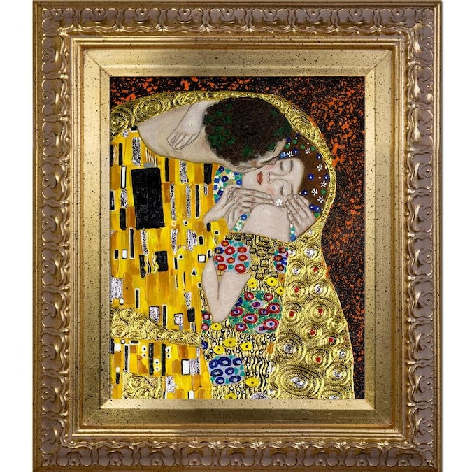 La Pastiche La Pastiche By Overstockart The Kiss By Gustav Klimt With Gold Versailles Antiqued Frame Oil Painting Wall Art 13 5 In X 11 5 In In The Wall Art Department At Lowes Com
