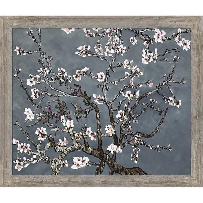 La Pastiche La Pastiche By Overstockart Branches Of An Almond Tree In Blossom Pearl Grey By La Pastiche Originals With Silver Versailles Salon Frame Oil Painting Wall Art 28 In X 24 In In