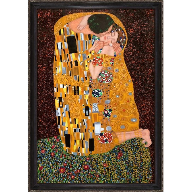 La Pastiche La Pastiche By Overstockart The Kiss Full View By Gustav Klimt With Black And Gold La Scala Frame Oil Painting Wall Art 39 In X 27 In In The Wall Art Department