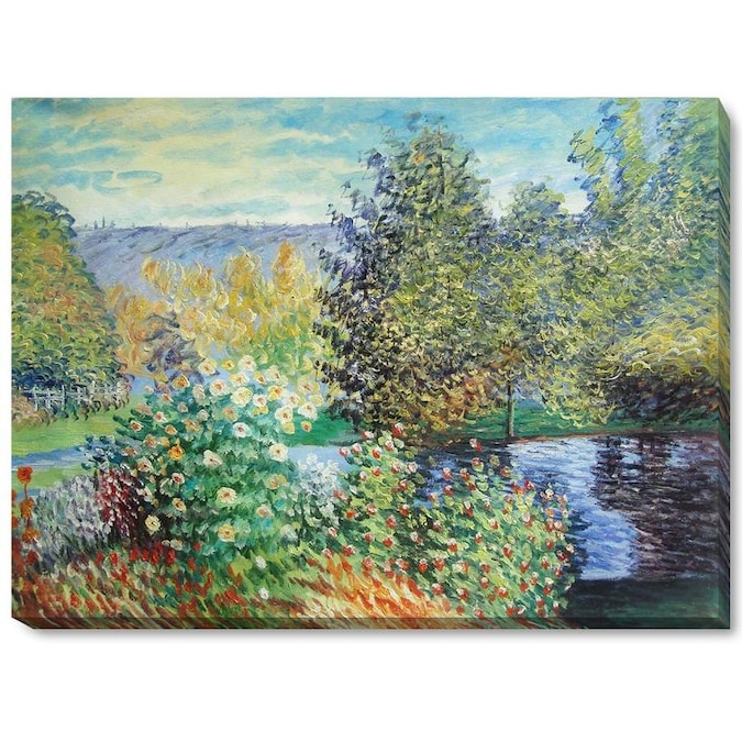 La Pastiche La Pastiche By Overstockart Corner Of The Garden At Montgeron By Claude Monet Gallery Wrapped Canvas Oil Painting Reproduction Wall Art 34 In X 22 In In The Wall Art Department At