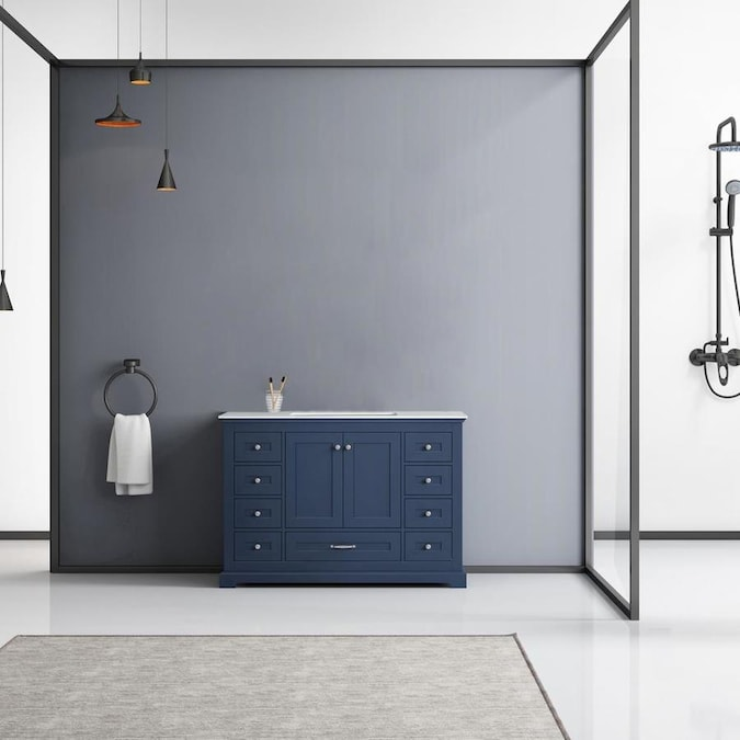 Lexora Dukes 48 In Navy Blue Undermount Single Sink Bathroom Vanity With White Marble Top In The Bathroom Vanities With Tops Department At Lowes Com