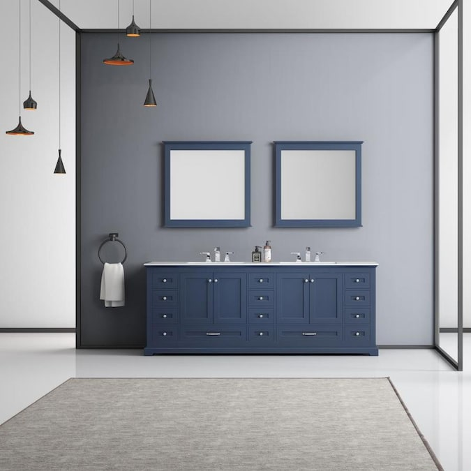 Lexora Dukes 84 In Navy Blue Undermount Double Sink Bathroom Vanity With White Marble Top Mirror And Faucet Included In The Bathroom Vanities With Tops Department At Lowes Com