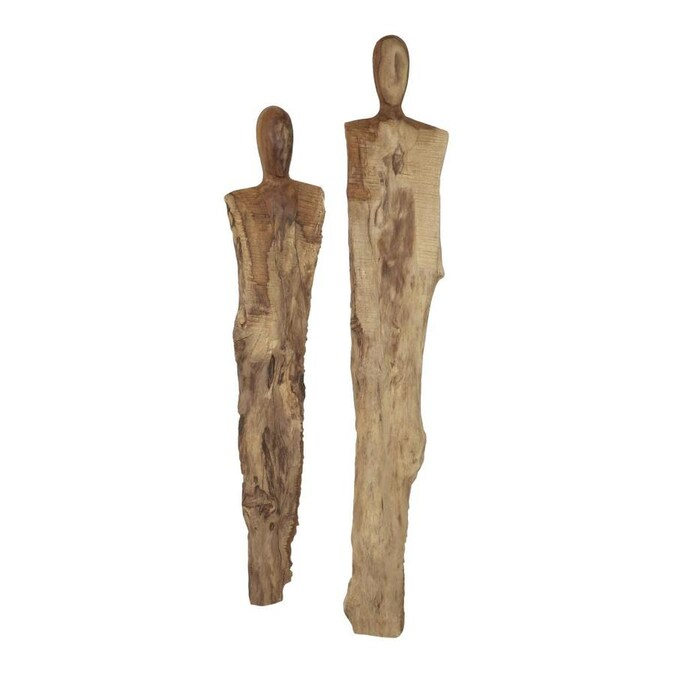 Grayson Lane Rustic Hand Carved Reclaimed Teak Wood Wall Sculptures Set Of 2 8 8221 X 42 8221 8 8221 X 34 5 8221 In The Wall Accents Department At Lowes Com