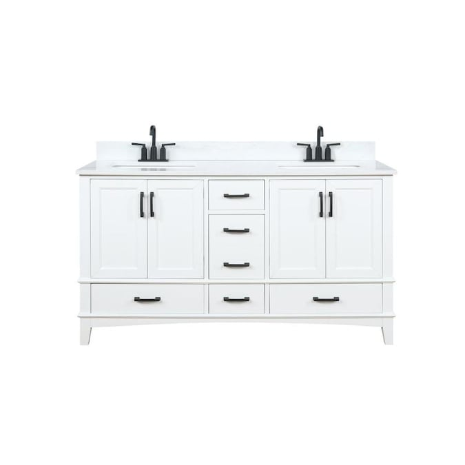 Runfine Emily 60 In White Double Sink Bathroom Vanity With Carrara Cultured Marble Cultured Marble Top In The Bathroom Vanities With Tops Department At Lowes Com