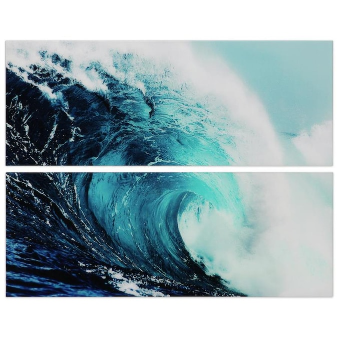 Empire Art Direct Wall Art 24 X 63 X 0 2 Each Blue Wave 1and2 Frameless Free Floating Tempered Glass Panel Graphic Wall Art In The Wall Art Department At Lowes Com