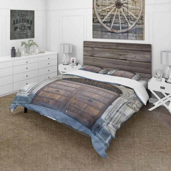 Designart Ancient Woor With Diamond Window Vintage Duvet Cover Set In The Bedding Sets Department At Lowes Com