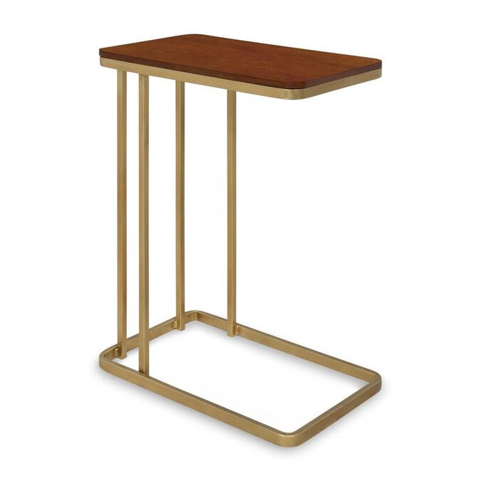 Kate And Laurel Credele Walnut Brown Gold Wood End Table In The End Tables Department At Lowes Com