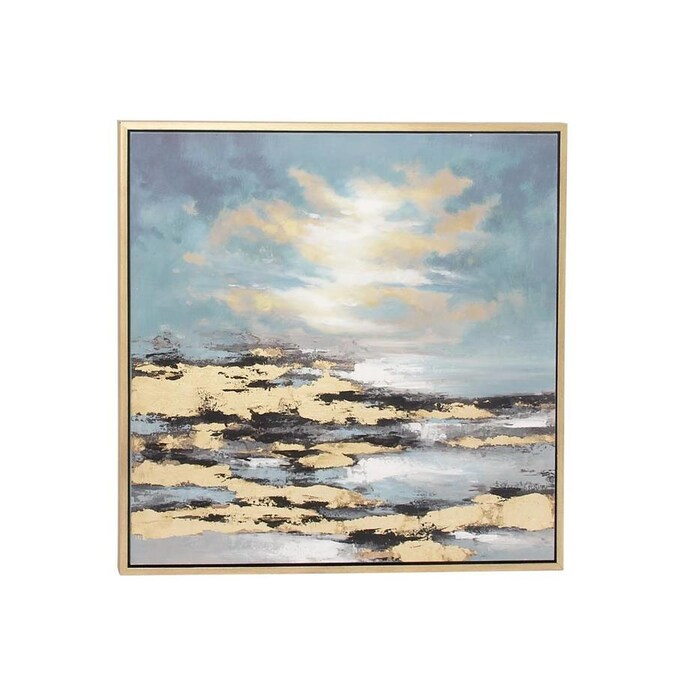 Grayson Lane Extra Large Square Beach Sunset Framed Canvas Art 39 Inw 39 Inh In The Wall Art Department At Lowes Com