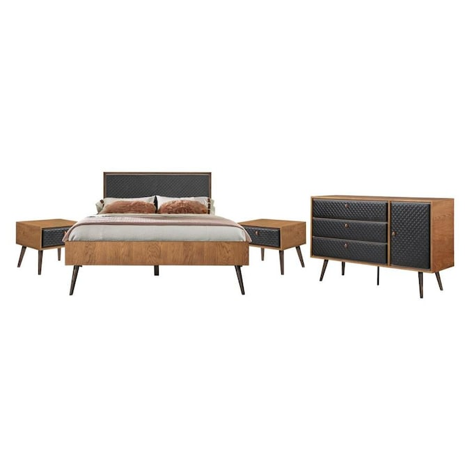 Armen Living Coco Rustic 4 Piece Upholstered Platform Bedroom Set In Queen With Dresser And 2 Nightstands In The Bedroom Sets Department At Lowes Com