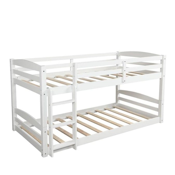 Clihome White Twin Over Queen Bunk Bed In The Bunk Beds Department At Lowes Com