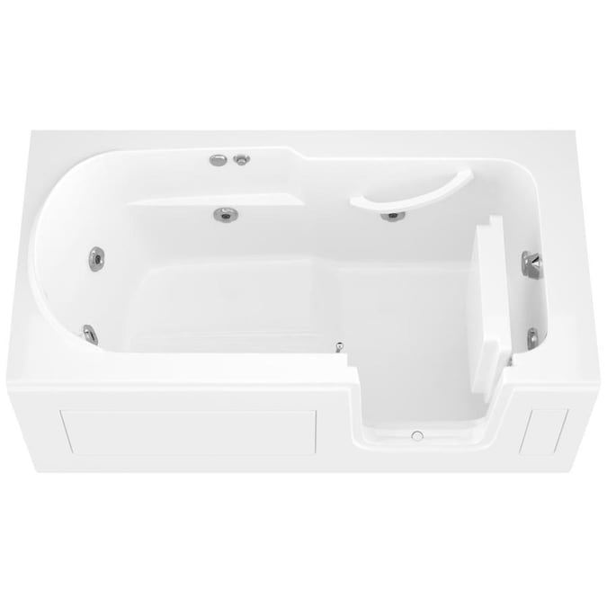 Endurance 30 In W X 60 In L White Acrylic Rectangular Left Hand Drain Walk In Bathtub In The Bathtubs Department At Lowes Com