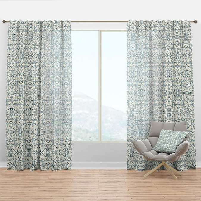 Designart 90 In Blue Faux Linen Room Darkening Thermal Lined Rod Pocket Single Curtain Panel In The Curtains Drapes Department At Lowes Com