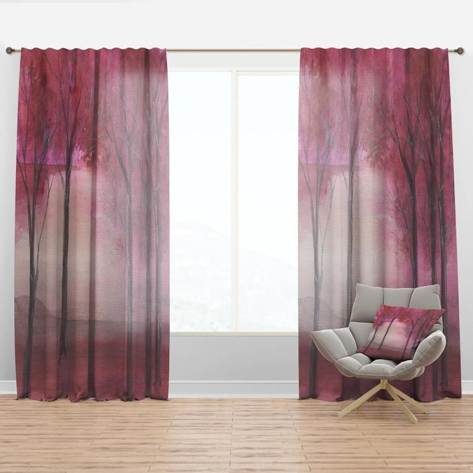 Designart 90 In Pink Faux Linen Room Darkening Thermal Lined Rod Pocket Single Curtain Panel In The Curtains Drapes Department At Lowes Com