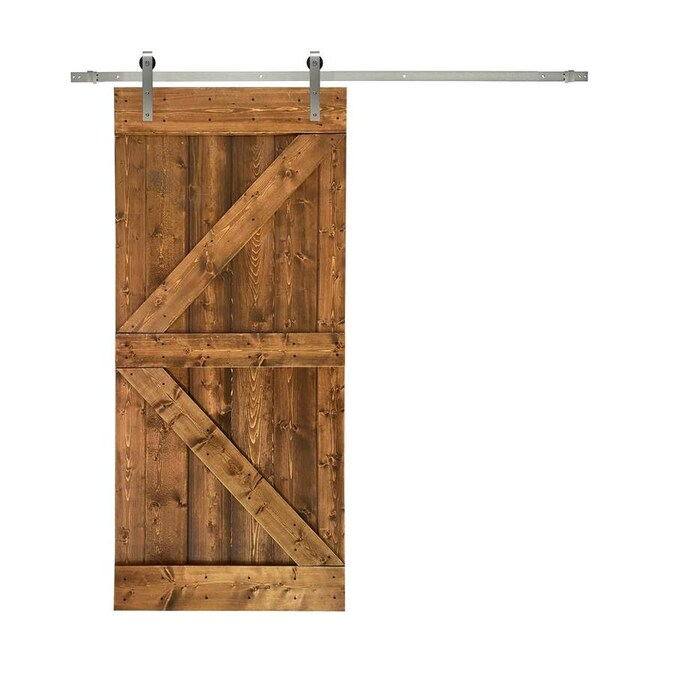 Calhome K Series 36 In X 84 In Pre Assembled Walnut Stained Wood Interior Sliding Barn Door With Hardware Kit In The Barn Doors Department At Lowes Com