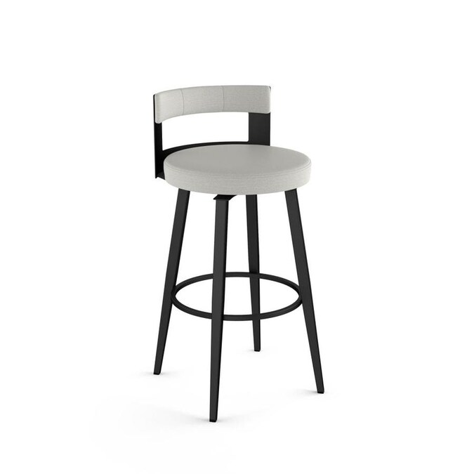 Amisco Paramont Light Grey Polyester Black Metal Counter Height Upholstered Swivel Bar Stool In The Bar Stools Department At Lowes Com