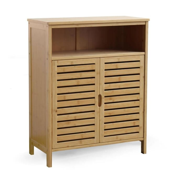 Veikous 32 In W X 25 8 In D X 12 In H Bamboo Bathroom Two Door Storage Cabinet In Brown In The Utility Storage Cabinets Department At Lowes Com