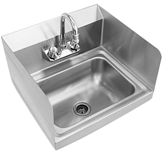 Wellfor 15 In X 17 In 1 Basin Stainless Steel Wall Mount Utility Tub With Drain And Faucet In The Utility Sinks Department At Lowes Com