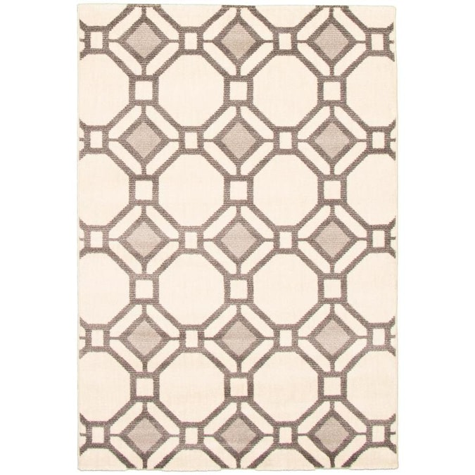 Ecarpetgallery Acadia 5 X 7 Dark Brown Ivory Light Gray Trellis Moroccan Area Rug In The Rugs Department At Lowes Com