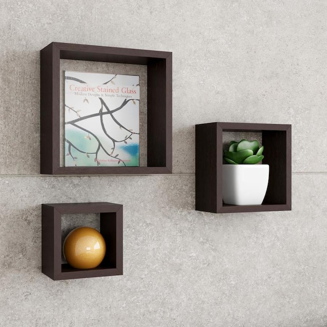 Hastings Home Floating Shelves Cube Wall Shelf Set With Hidden Brackets 3 Sizes To Display Decor Books Photos More Hardware Included By Hastings Home In The Wall Mounted Shelving Department At Lowes Com