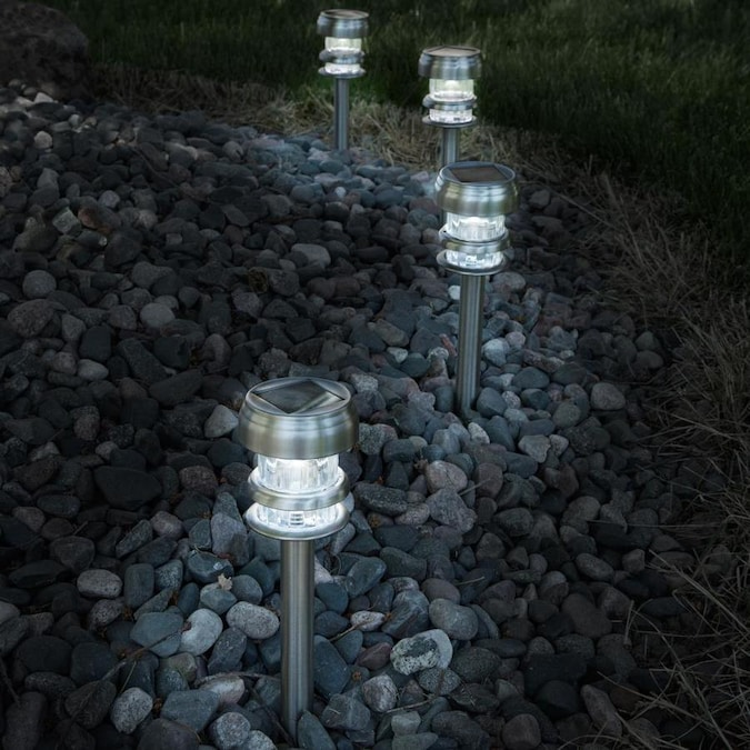 Nature Spring Solar Powered Lights Set Of 4 Led Outdoor Stake Spotlight Fixture For Gardens Pathways And Patios By Nature Spring Silver In The Spot Flood Lights Department At Lowes Com