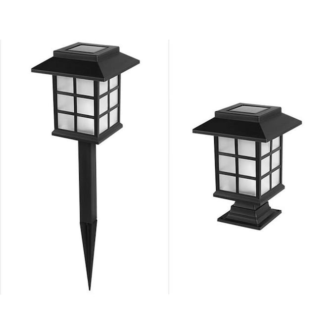 Lightsmax 2 Pack 4x Brighter 4 8 Lumen Black Solar Led Path Light In The Path Lights Department At Lowes Com