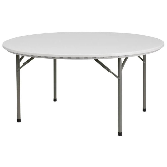 Flash Furniture 5 Ft X 5 Ft Indoor Round Plastic White Folding Banquet Table In The Folding Tables Department At Lowes Com