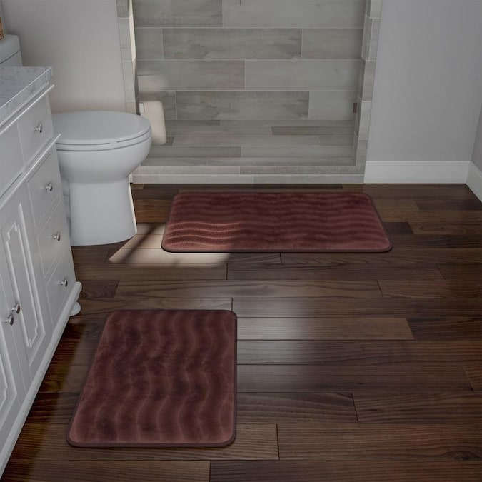 Hastings Home Bathroom Rug Set 2 Piece Memory Foam Bath Mats Wavy Microfiber Top Non Slip Absorbent Runner For Bathroom Kitchen By Hastings Home Brown In The Bathroom Rugs Mats Department At Lowes Com