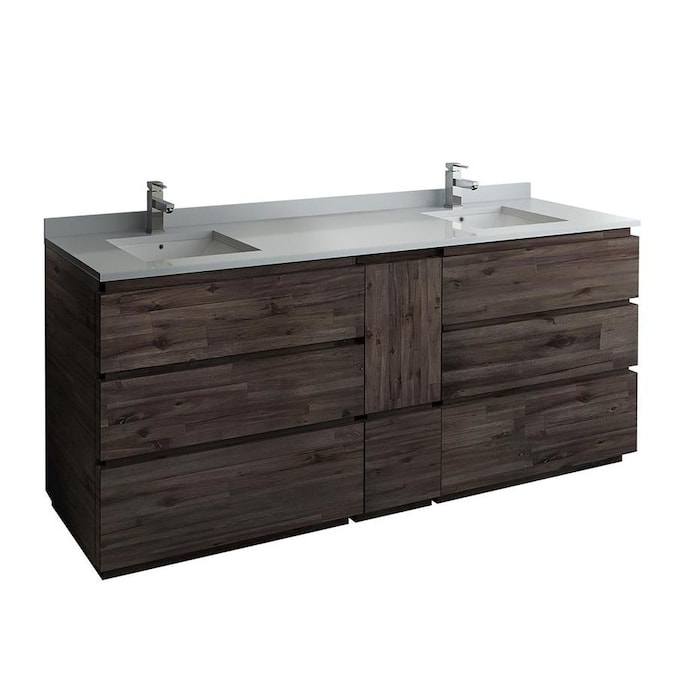Fresca Stella 84 In Acacia Wood Bathroom Vanity Cabinet In The Bathroom Vanities Without Tops Department At Lowes Com