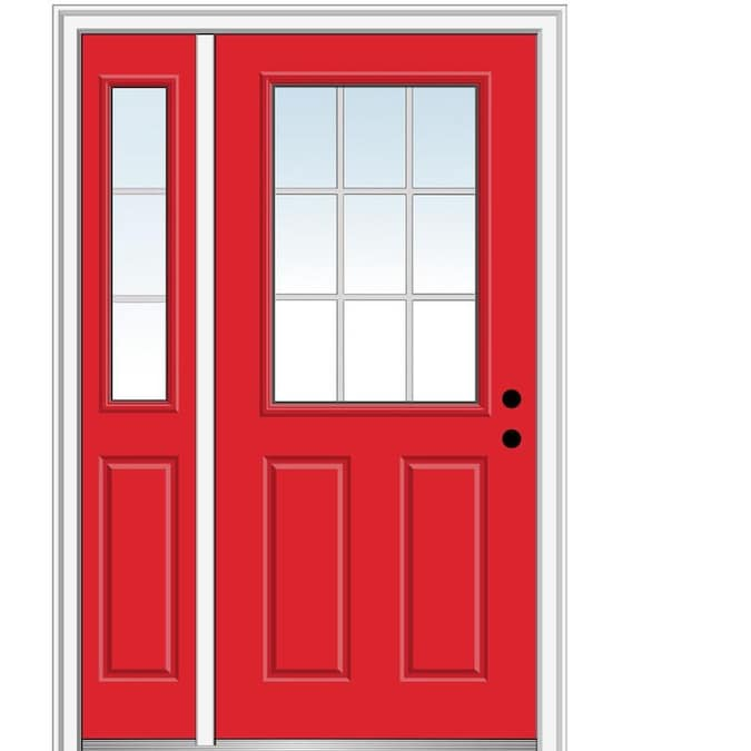 Mmi Door 50 In X 80 In Fiberglass Half Lite Left Hand Inswing Red Saffron Painted Prehung Single Front Door With Left Sidelight With Brickmould In The Front Doors Department At Lowes Com