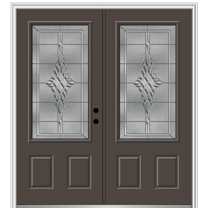 Mmi Door Rainglass 32 In X 80 In Fiberglass Full Lite Left Hand Inswing Brown Painted Prehung Single Front Door With Brickmould In The Front Doors Department At Lowes Com
