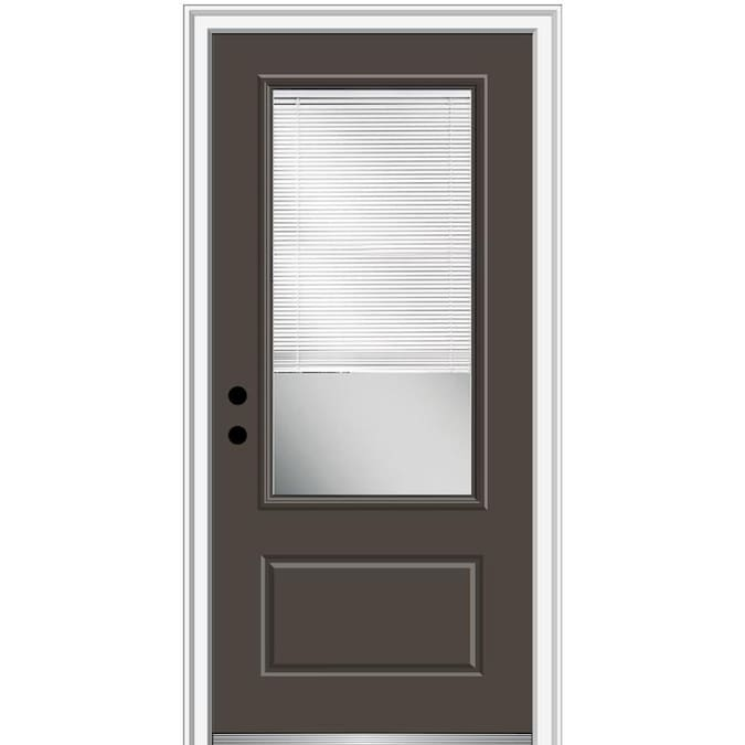 Mmi Door 36 In X 80 In Fiberglass 3 4 Lite Right Hand Inswing Brown Painted Prehung Single Front Door With Brickmould And Blinds In The Front Doors Department At Lowes Com
