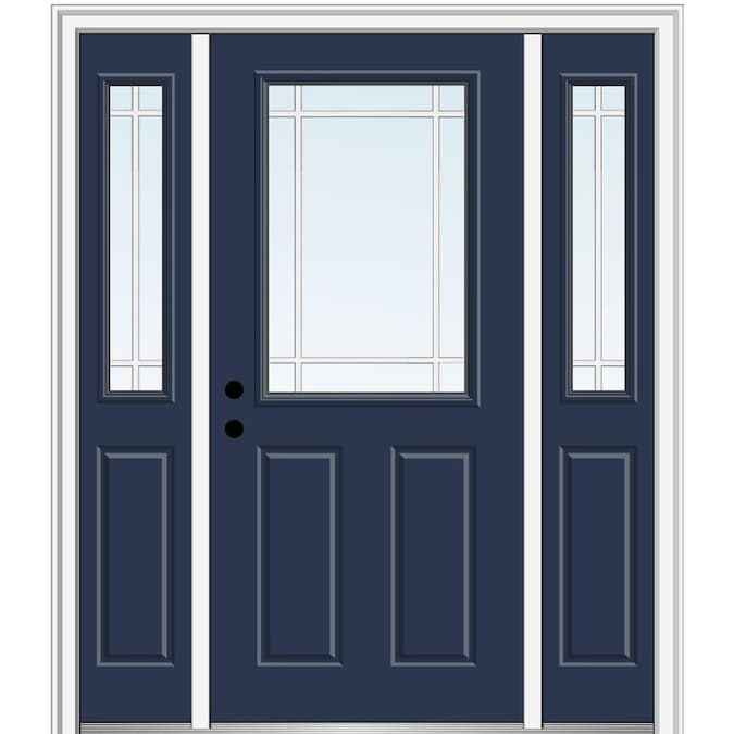 Mmi Door 50 In X 80 In Fiberglass Half Lite Left Hand Inswing Black Painted Prehung Single Front Door With Left Sidelight With Brickmould In The Front Doors Department At Lowes Com