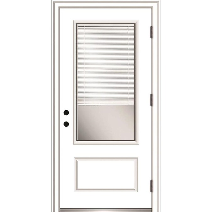 Mmi Door 36 In X 80 In Fiberglass 3 4 Lite Left Hand Outswing Primed Prehung Single Front Door With Brickmould And Blinds In The Front Doors Department At Lowes Com