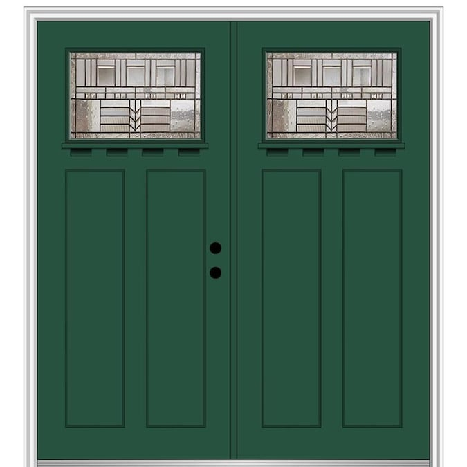 Mmi Door 64 In X 80 In Fiberglass Craftsman Left Hand Inswing Hunter Green Painted Prehung Double Front Door With Brickmould In The Front Doors Department At Lowes Com