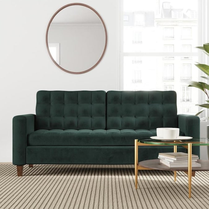 Brookside Brynn Square Arm Sofa With Onless Tufting Navy In The Couches Sofas Loveseats Department At Com - Simple Living Emilia Blue Sofa Table