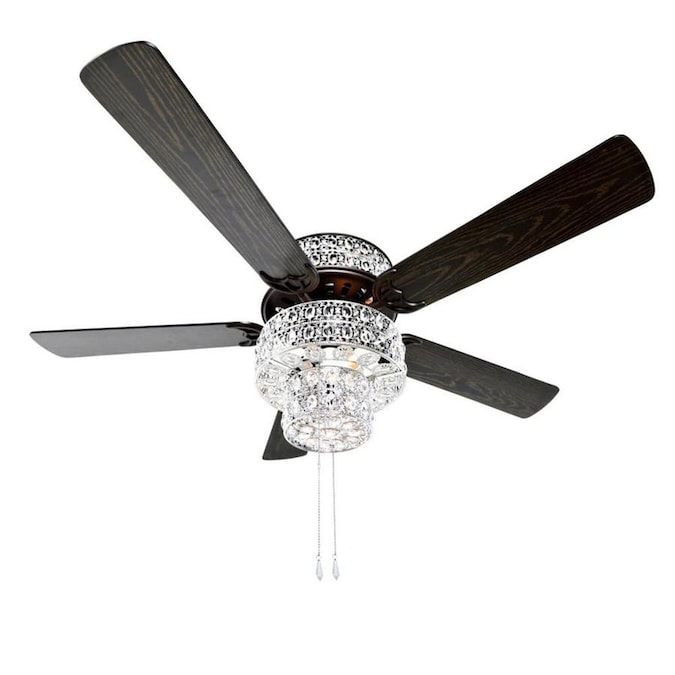 River Of Goods Silver Punched Metal And Clear Crystal 52 In Oil Rubbed Bronze Led Indoor Ceiling Fan With Light 5 Blade In The Ceiling Fans Department At Lowes Com