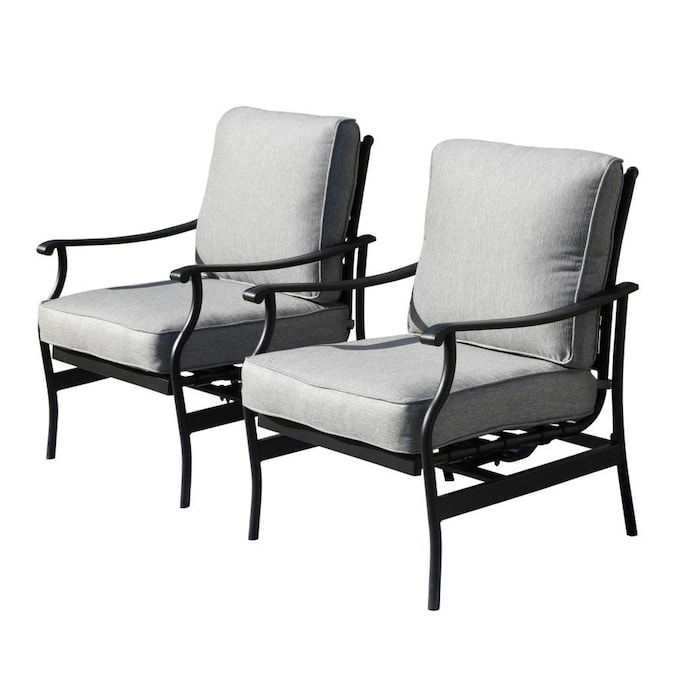 Top Home Space Top Home Space 2 Pcs Patio Chairs Outdoor Dining Chairs Rocking Chairs Patio Conversation Set Metal Furniture Bistro Set With Gray Cushions In The Patio Chairs Department At Lowes Com