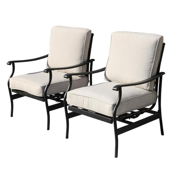 Top Home Space Top Home Space 2 Pcs Patio Chairs Outdoor Dining Chairs Rocking Chairs Patio Conversation Set Metal Furniture Bistro Set With Beige Cushions In The Patio Chairs Department At Lowes Com