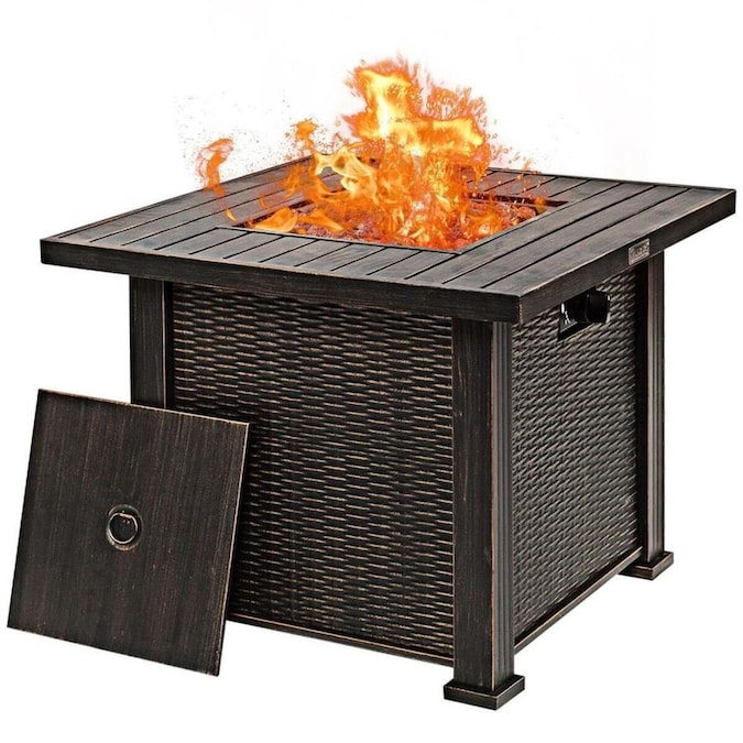 Casainc 30 In W 50000 Btu Bronze Portable Steel Natural Gas Fire Pit In The Gas Fire Pits Department At Lowes Com