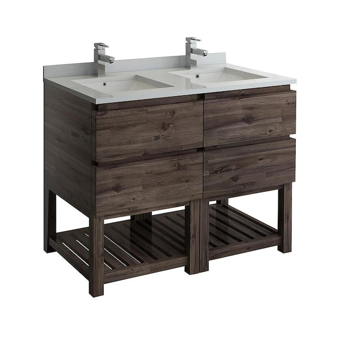 Fresca Formosa 48 In Acacia Wood Bathroom Vanity Cabinet In The Bathroom Vanities Without Tops Department At Lowes Com