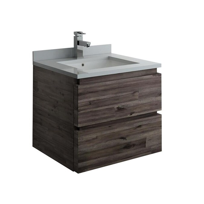 Fresca Stella 24 In Acacia Wood Undermount Single Sink Bathroom Vanity With White Quartz Top In The Bathroom Vanities With Tops Department At Lowes Com
