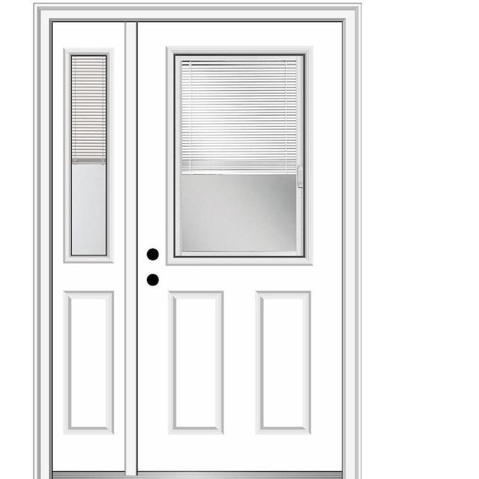 Mmi Door 50 In X 80 In Fiberglass Half Lite Right Hand Inswing Primed Prehung Single Front Door With Left Sidelight With Brickmould In The Front Doors Department At Lowes Com