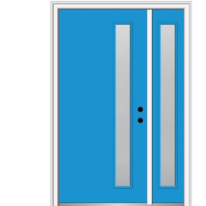 Mmi Door Rainglass 36 In X 80 In Fiberglass Oval Lite Left Hand Inswing Black Painted Prehung Single Front Door With Brickmould In The Front Doors Department At Lowes Com