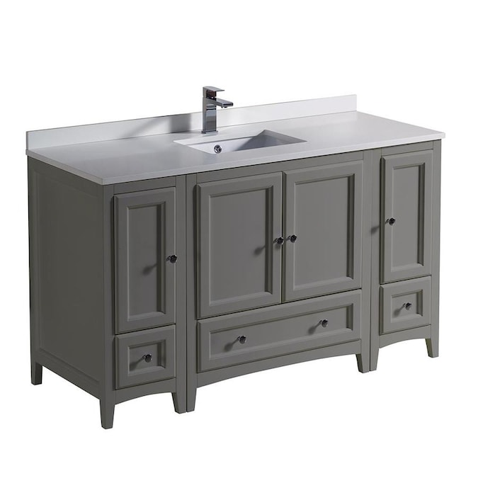 Fresca Oxford 54 In Gray Undermount Single Sink Bathroom Vanity With White Engineered Stone Top In The Bathroom Vanities With Tops Department At Lowes Com