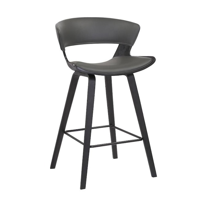 Armen Living Jagger Gray Black Counter Height Upholstered Bar Stool In The Bar Stools Department At Lowes Com