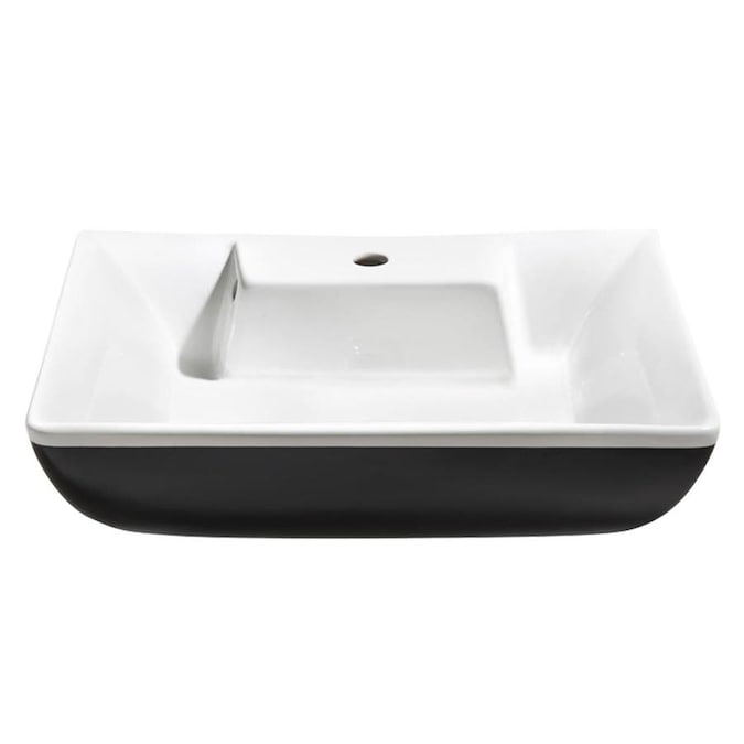 Fresca Moselle White Ceramic Vessel Rectangular Bathroom Sink With Overflow Drain 12 5 In X 24 6 In In The Bathroom Sinks Department At Lowes Com