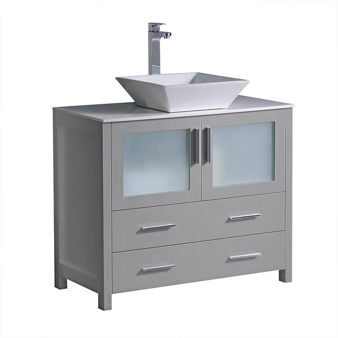 Fresca Fresca Torino 36 In Gray Modern Bathroom Cabinet With Vessel Sink In The Bathroom Vanities With Tops Department At Lowes Com