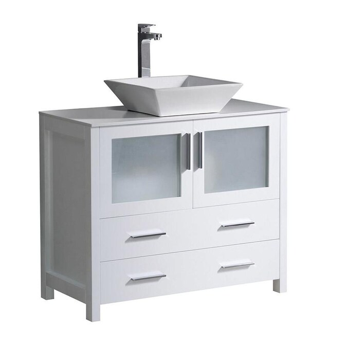 Fresca Fresca Torino 36 In White Modern Bathroom Cabinet With Top And Vessel Sink In The Bathroom Vanities With Tops Department At Lowes Com